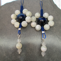Blue Tigers eye and white shell flower earrings