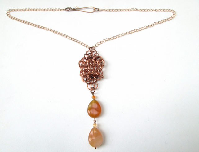 Carnelian and chainmaille pendant