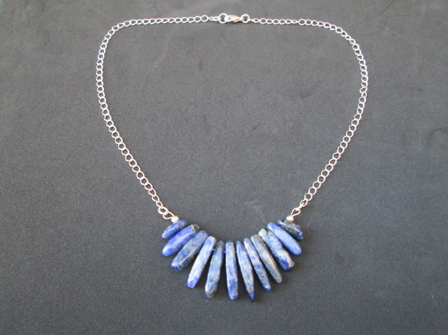Sodalite nugget fan pendant and chain