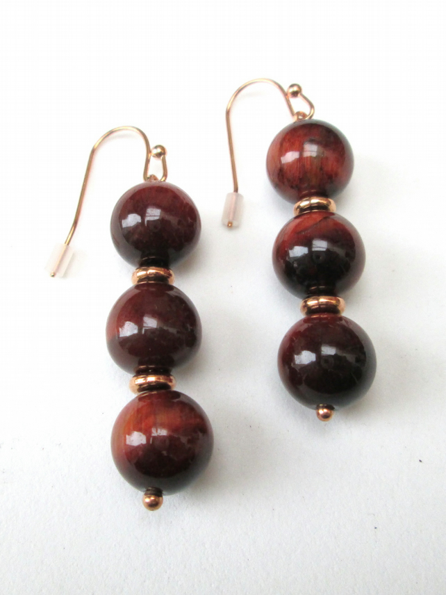 triple red Tigers eye earrings