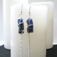 Wire wrapped Sodalite and chain earrings