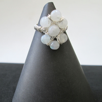 Moonstone wire work ring
