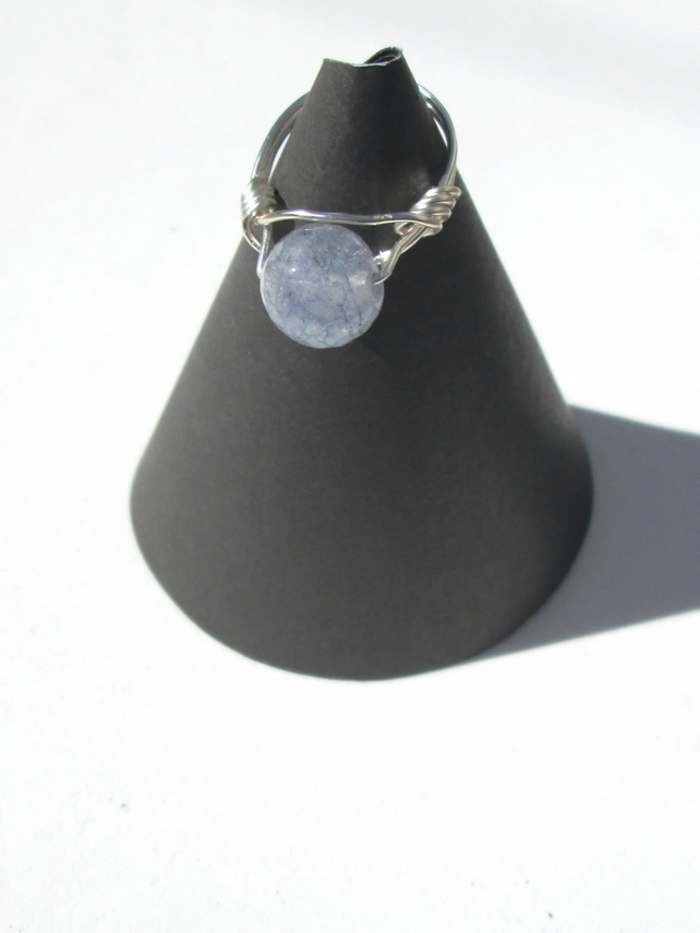 Blue crackled Quartz wire wraped ring