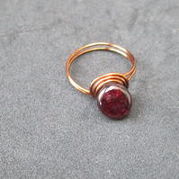Bronze wire and Garnet ring