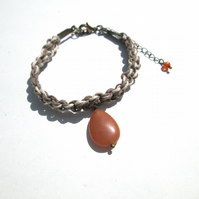 Macrame bracelet with orange Aventurine charm