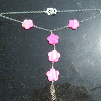 Long pink shell flower and Quartz necklace