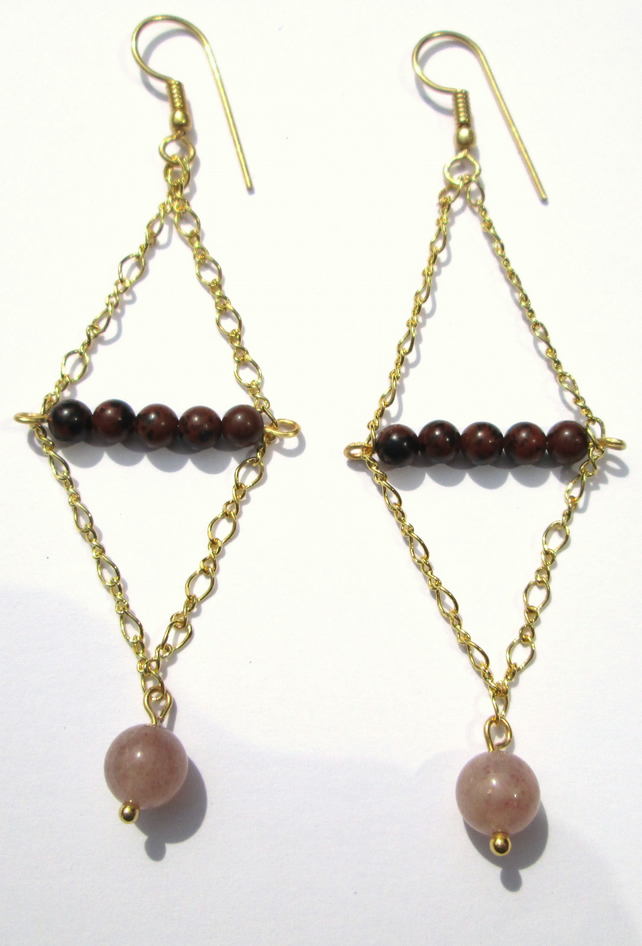 Long Obsidian Sunstone and chain earrings