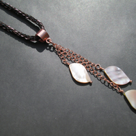 Kumihimo necklace with shell marquise pendant