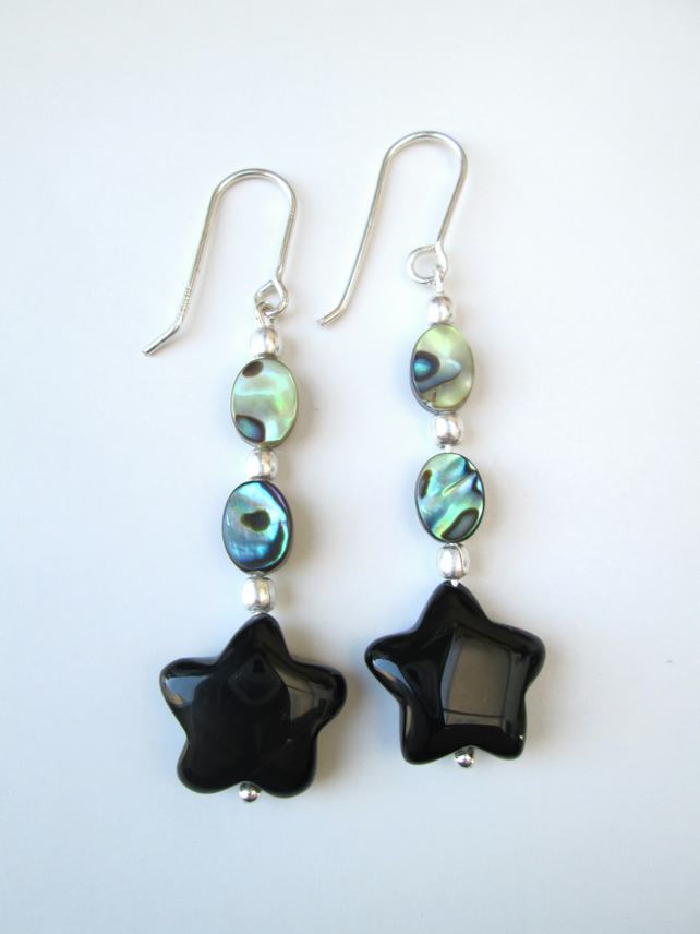 Abalone and Agate star earrings
