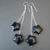 Agate star and chain dangly earrings