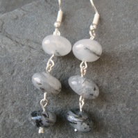 Rutilated Quartz rosary link earrings