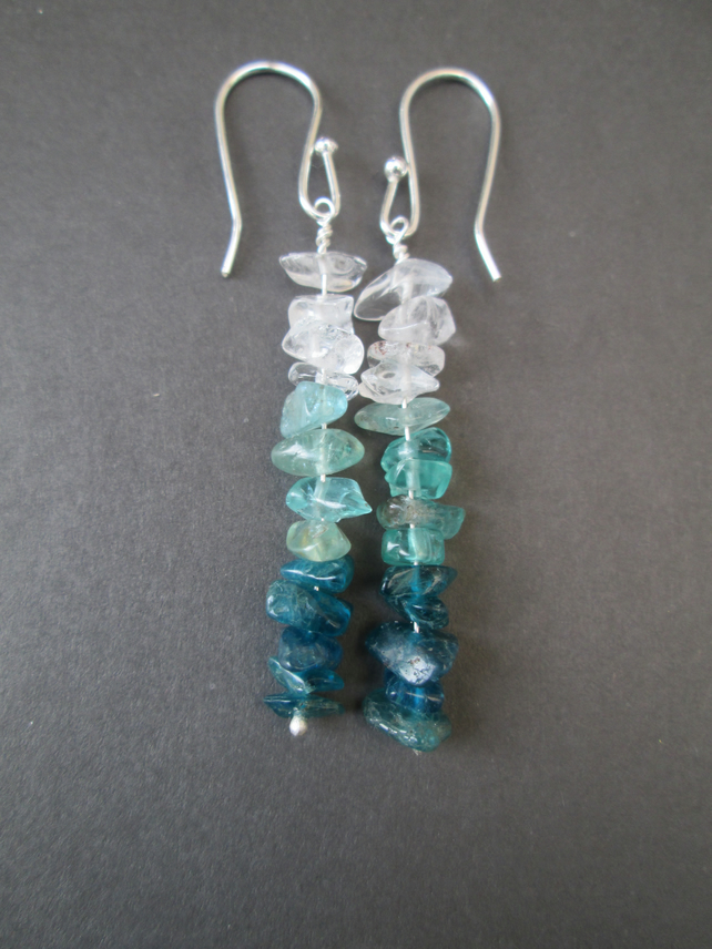 Neon Apatite, blue Apatite and clear Quartz chip earrings