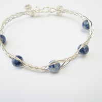 Blue Sodalite and silver wire woven bangle