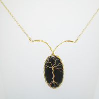 Black Onyx cabochon gold and copper tree of life pendant and chain