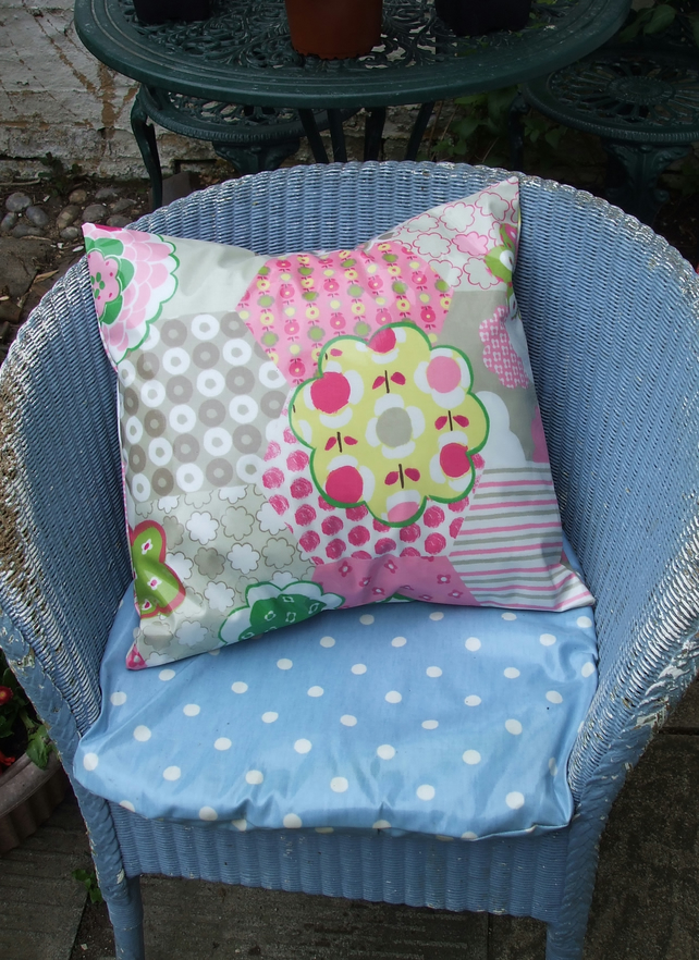 Oilcloth Garden Cushion in Patchwork Design