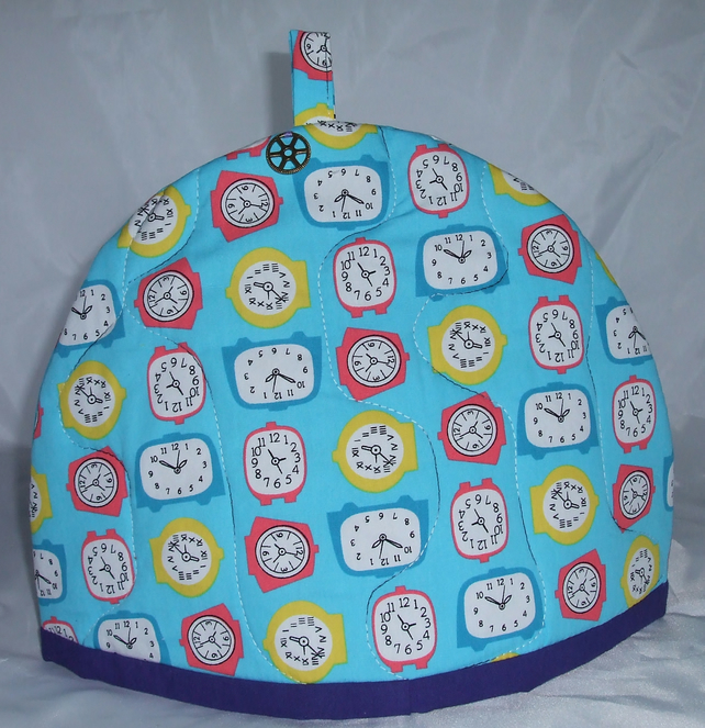 Handmade Teacosy in Clock Fabric