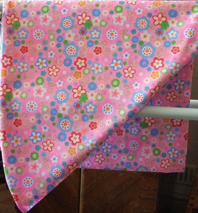 Handmade V Shaped Pillowcase in Pink, Bright Petals Fabric