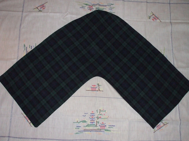 Handmade V Shaped Pillowcase in Green and Navy Tartan Fabric
