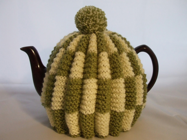 Handknitted Teacosy in Lemon and Green with Pompom