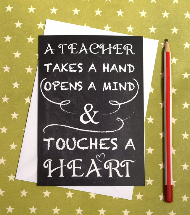 Teacher thank you A6 card with envelope