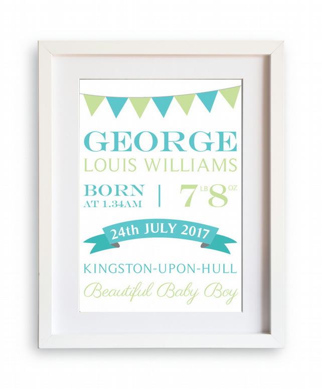 New Baby Boy Personalised A4 Print