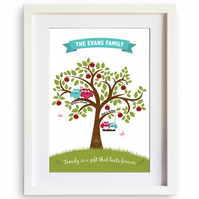 Personalised Family Tree A4 Print