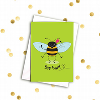 Don't worry, bee happy! A6 card with envelope