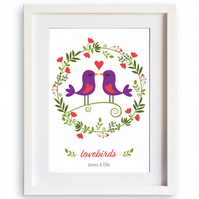 Personalised lovebirds A4 art print