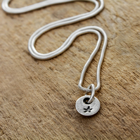 Tiny recycled silver star charm necklace