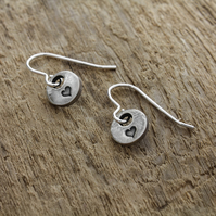 Tiny recycled silver heart charm earrings, with sterling silver ear wires