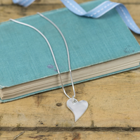 Recycled silver curved heart charm necklace