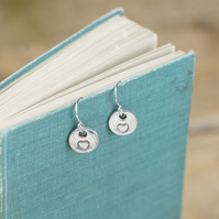 Recycled silver heart charm drop earrings, with sterling silver ear wires
