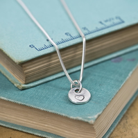 Recycled silver heart charm necklace