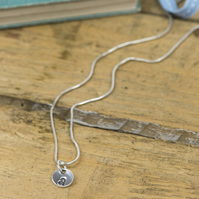 Custom silver initial charm necklace