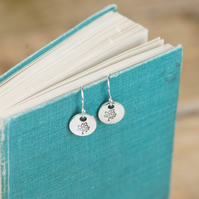 Recycled silver tree charm drop earrings, with sterling silver ear wires