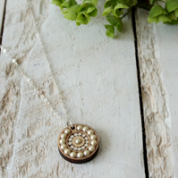 Crystal and Pearl Wooden Jewel Dot Pendant