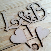 Personalised Wooden Cake Topper & Two Wooden Hearts - Set