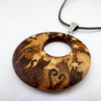 For the love of Cats Wooden Pyrography Pendant Necklace