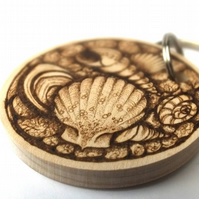 Seashore Treasures Wooden Pyrography Personalised Circular Keyring
