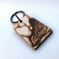 Brooding Dragon Mother Personalised Pyrography Keyring