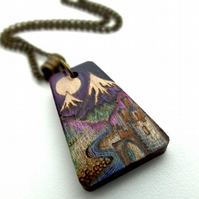 Fairy Tale Scene Pyrography Pendant with Inks.