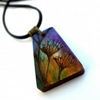 Winter Ochre Umbels Wooden Pyrography and Ink Maple Necklace Pendant