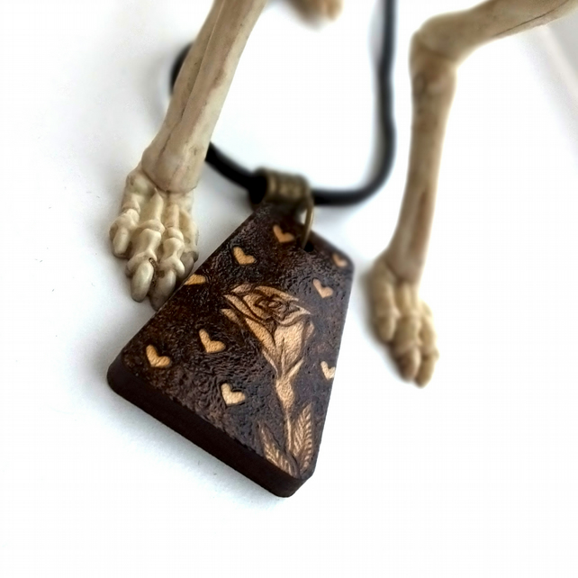 Hearts and a Rose Pyrography Pendant Necklace