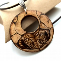 Hidden Dragon Pyrography Wood Pendant Necklace