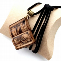 Book Shaped Bookshelf for Bookworms Hand Burned Pyrography Pendant Necklace