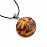 Lighthouse Brightly Shining Wooden Pyrography Pendant Necklace