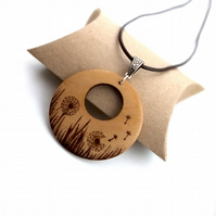 Summer Dandelion Wooden Pyrography Pendant Necklace