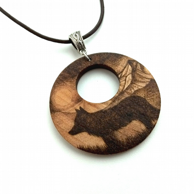 Dog in the Mountains Wooden Pyrography Pendant Necklace