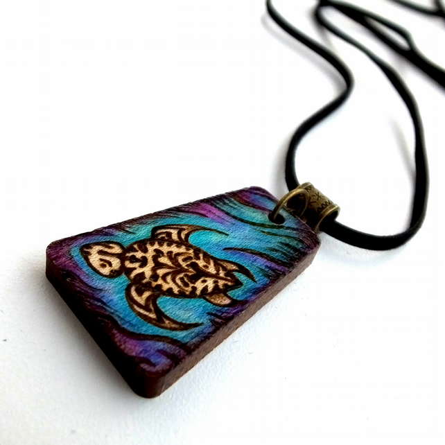Sea Turtle Hand Burned Pyrography Pendant Necklace with Inks