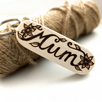 Gift for Mum, Hand Burned Pyrography Wooden Floral Keyring